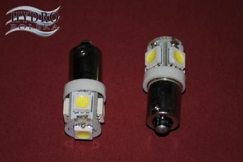 Żarówka LED 1,5W 12V T4W 5W5 biała zimna POSTOJÓWKI
